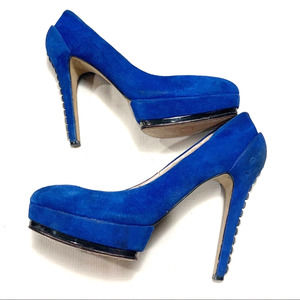Vince Camuto Blue Suede Studded Heels